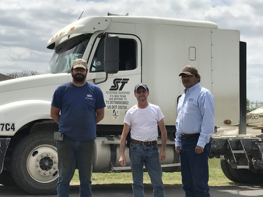 James Lamontagne, Hondo Little League Board Member (Left), Raul Martinez, Statewide Trucking Driver (Middle), Johnny Guajardo - City of Hondo, Facilities & Parks Supervisor (Right)